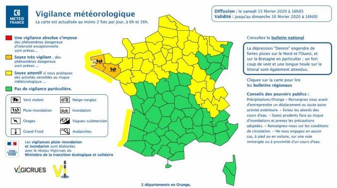 Tempête Dennis: le Finistère et le Morbihan en vigilance orange pluie-inondation