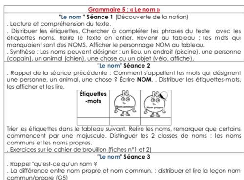 Grammaire 5 : « Le nom » (CE1)
