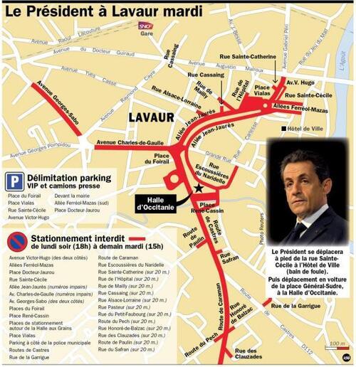 Lavaur - Nicolas Sarkozy en visite éclair (7 février 2012)