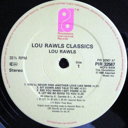 "1984 : Lou Rawls : Album "" Classics "" Philadelphia International Records FZ 39285 [ US ]"