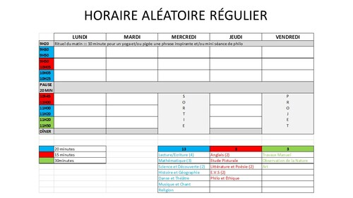 Planification 4: Horaire