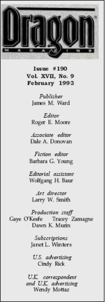 Crédits du magasine Dragon190, février 1993.