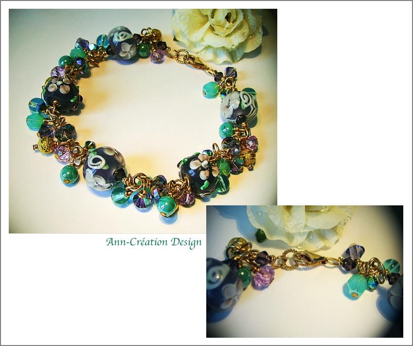 Bracelet Floral Grappe Verre Lampwork Lilas Turquoise / Laiton & Plaqué Or