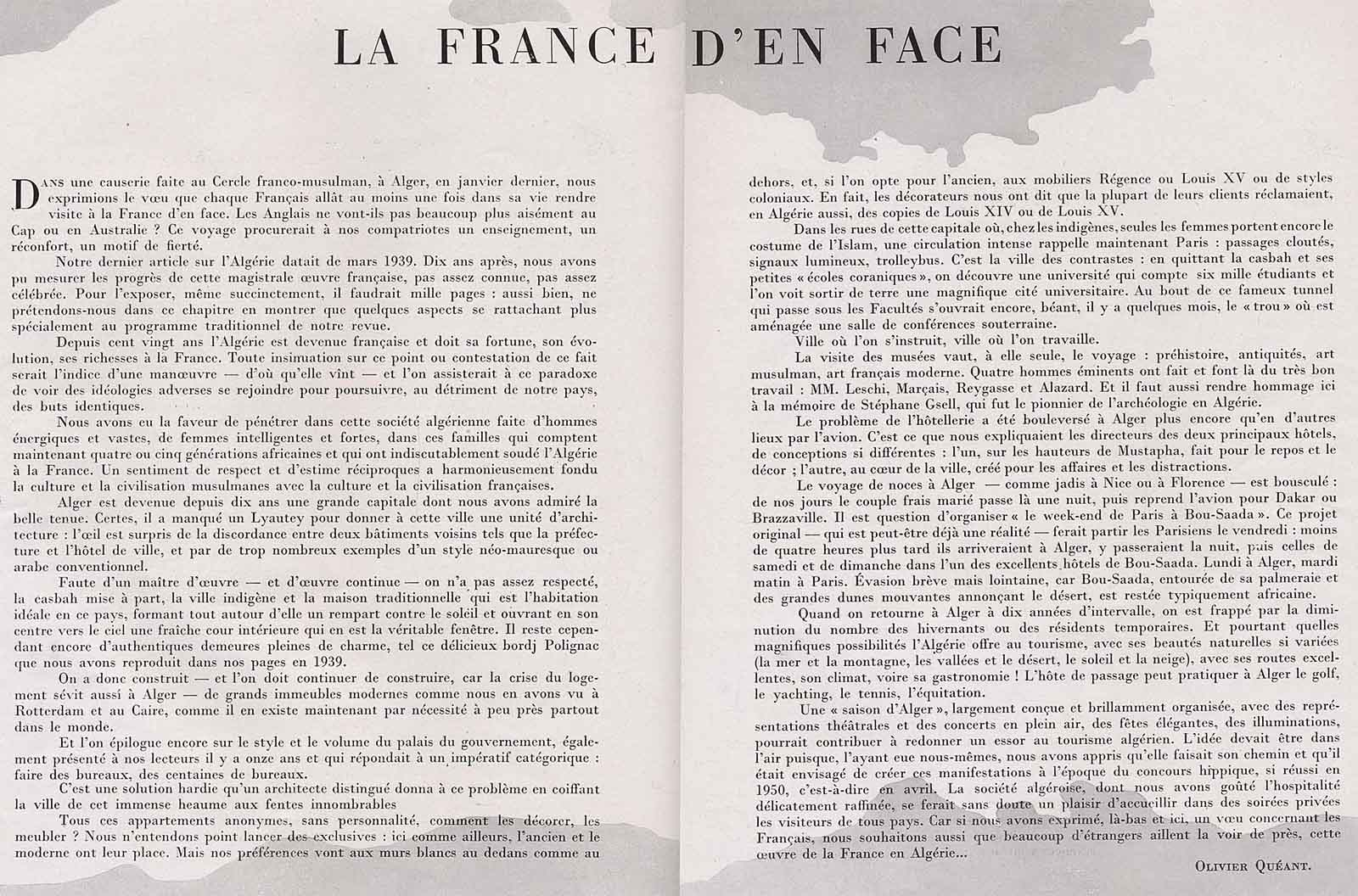La France d'en face - article de Plaisir de France 1950