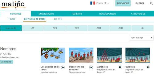 Deux sites de jeux éducatif en ligne : Matific et logiciel éducatif