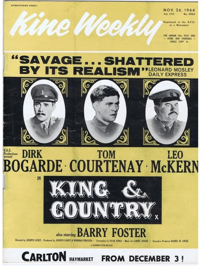 KING AND COUNTRY BOX OFFICE USA 1966