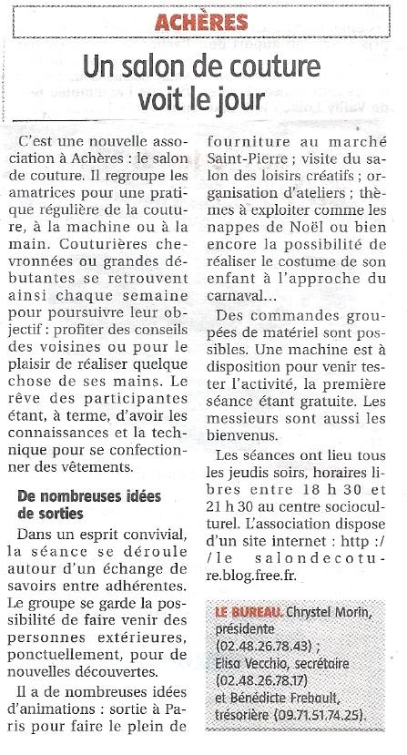 Article du 28 novembre 2013 dans La Voix du Sancerrois