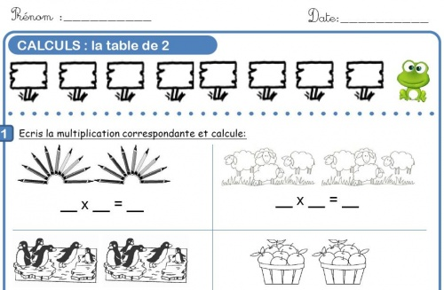 Multiplication par 2 et par 5 l 39 cole de crevette - Exercice sur la table de multiplication ...
