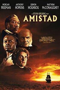 """Amistad : En 1839, """"l'Amistad"""", navire espagnol transportant des esclaves africains, est pris dans une violente tempête au large de Cuba. Une cinquantaine de prisonniers réussissent à se libérer de leurs chaînes et se retournent contre leurs bourreaux, qu'ils passent par les armes. Cinqué, leur leader, oblige le capitaine à les ramener vers l'Afrique, mais celui-ci, profitant de son ignorance, met le cap sur l'Amerique. Jetés en prison, les mutins vont être défendus par deux fervents abolitionnistes, Theodore Joadson et Lewis Tappan, qui engagent un jeune avocat, Roger Baldwin. ...-----... Origine : Américain  Réalisation : Steven Spielberg  Durée : 2h 28min  Acteur(s) : Djimon Hounsou,Morgan Freeman,David Paymer  Genre : Drame,Historique  Date de sortie : 25 février 1998  Année de production : 1997  Distributeur : United International Pictures (UIP)  Critiques Spectateurs : 3,5"""