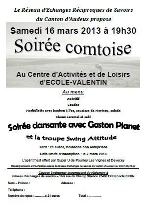 Soirée Comtoise le 16 mars 2013 organisée par le réseau d'échanges et savoirs