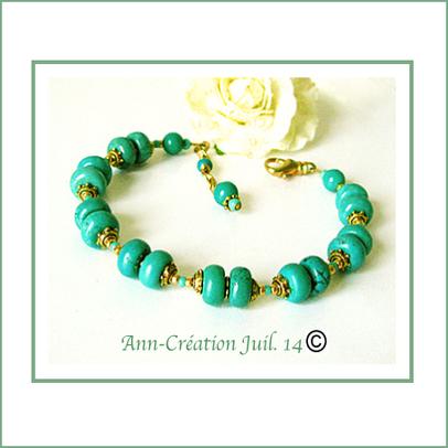 Bracelet Turquoise de Chine / Métal et Laiton doré