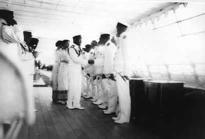 Nicholas II and his daughters Grand Duchesses Olga and Tatiana greeting officers of the Standart: 1913.