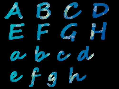 alphabet bleu clair