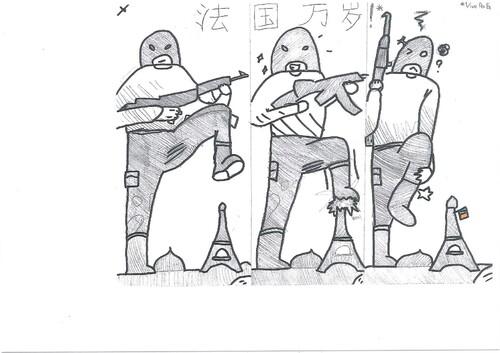 Dessins des élèves de Chinois suite aux attentats