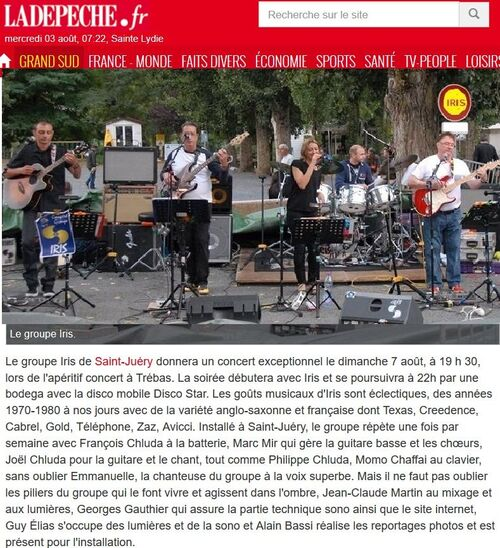 concert IRIS TRÉBAS LES BAINS 7 aout 2016