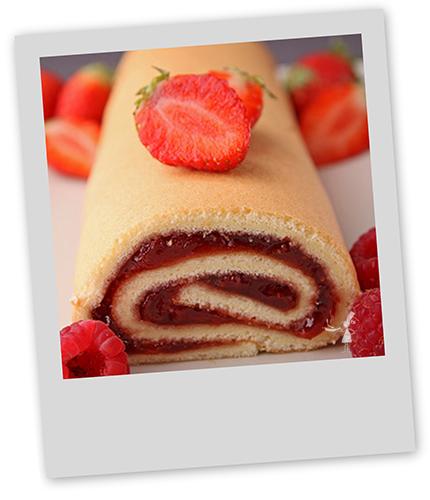 Roulé ou Buche  a la confiture de fraises