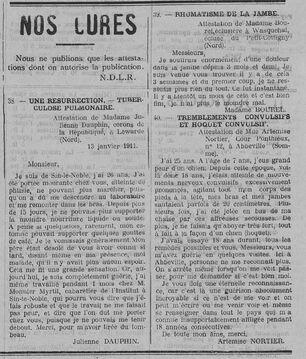 Nos cures (Le Fraterniste, 18 mai 1911)