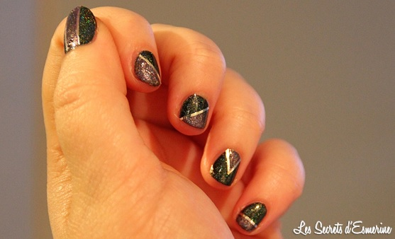 vernis, holographique, violet, vert, nail art, géométrique, #na, born pretty store, née jolie