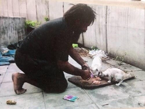 (-*♥*-) Un sans-abri récolte de l'argent tous les jours pour les chats errants avant de penser à lui