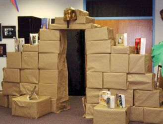 pyramid made from boxes: