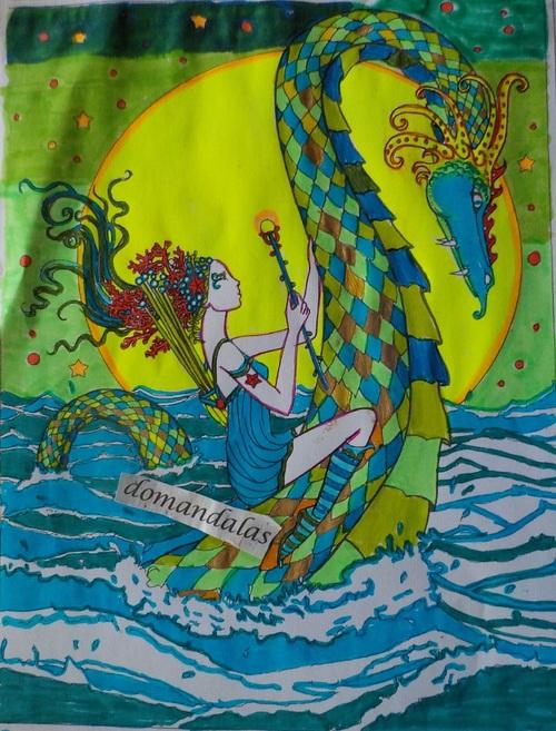 DOMANDALAS  coloriage d'une sirène e de son dragon album Mystical Molly Harrison