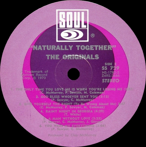 "The Originals ; Album "" Naturally Together "" Soul Records SS 729 [ US ]"