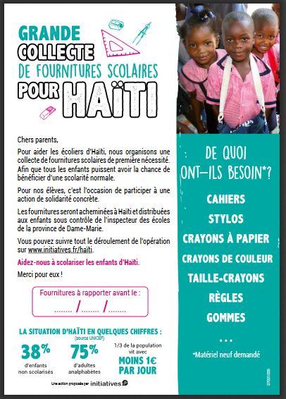 Fournitures pour Haïti