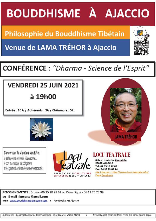 """25 juin 2021 - 19h - Conférence KTT """"Dharma - Science de l'esprit"""""""