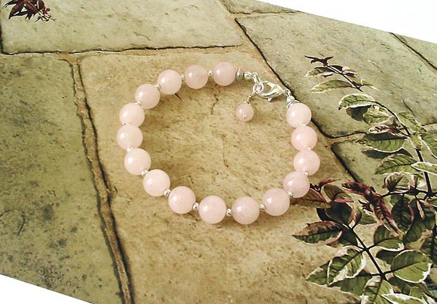 Bracelet Pierre de Quartz rose 16 perles 8 mm  /  Fermoir mousqueton Plaqué argent