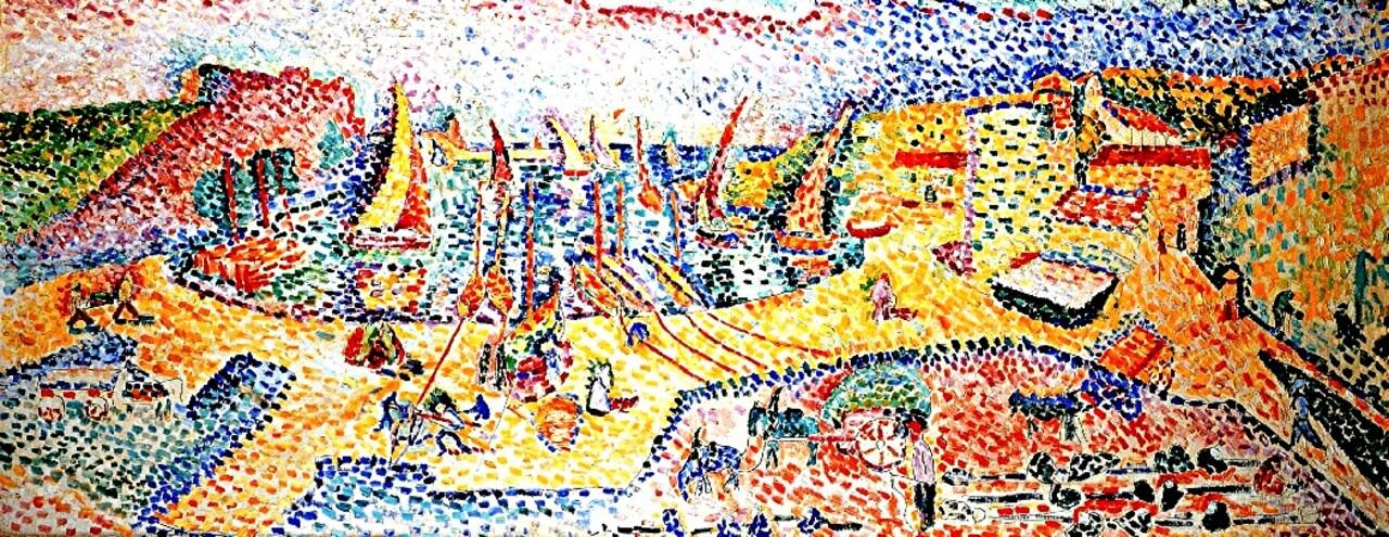 Matisse / 10/   1905- Collioure : les arbres , la jetée , les toits !