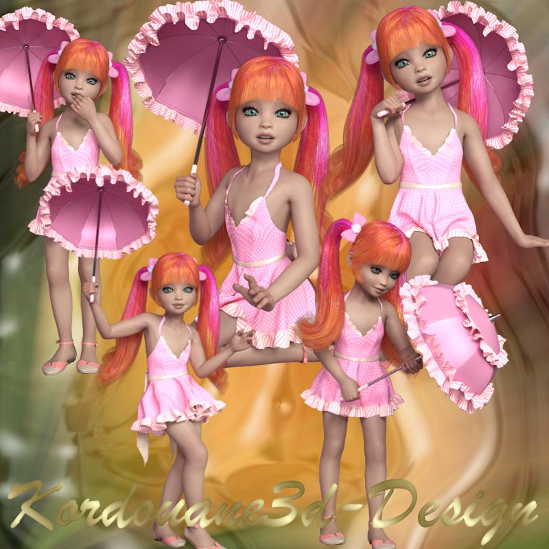 Milly Doll aux yeux émeraude et l'ombrelle (kit 5 tubes)