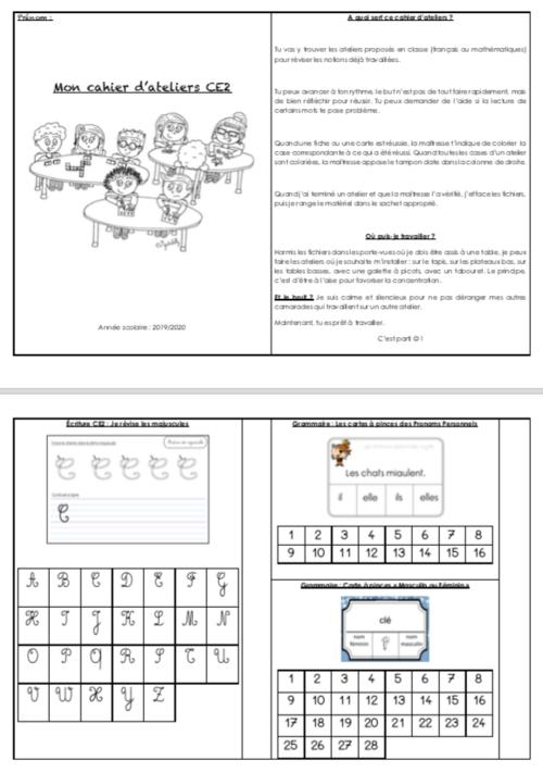 Le cahier d'ateliers CE2 (année scolaire 2019-2020)