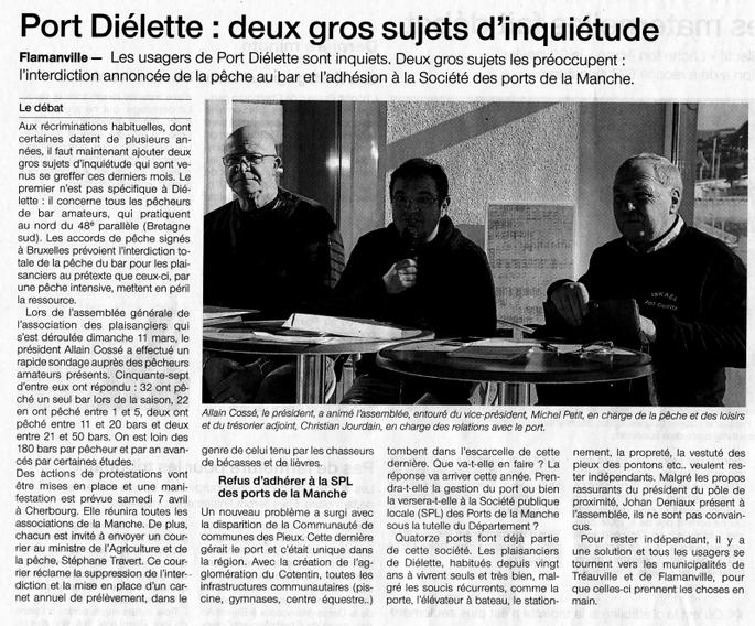 12 mars 2018 : Retour sur l'assemblée générale des plaisanciers de Port-Dielette !