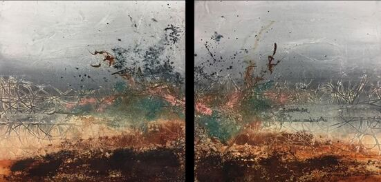 Dessin et peinture - vidéo 1936 : Démonstration de peinture abstraite à l'acrylique sur 2 supports.