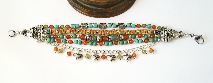 Bracelet Gipsy multi-rangs, Pierres de Turquoise, Cornaline, Aventurine, Péridot / Plaqué argent