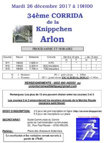 33ème Corrida de la Knippchen - Arlon (Belgique) - Mardi 26 décembre 2017