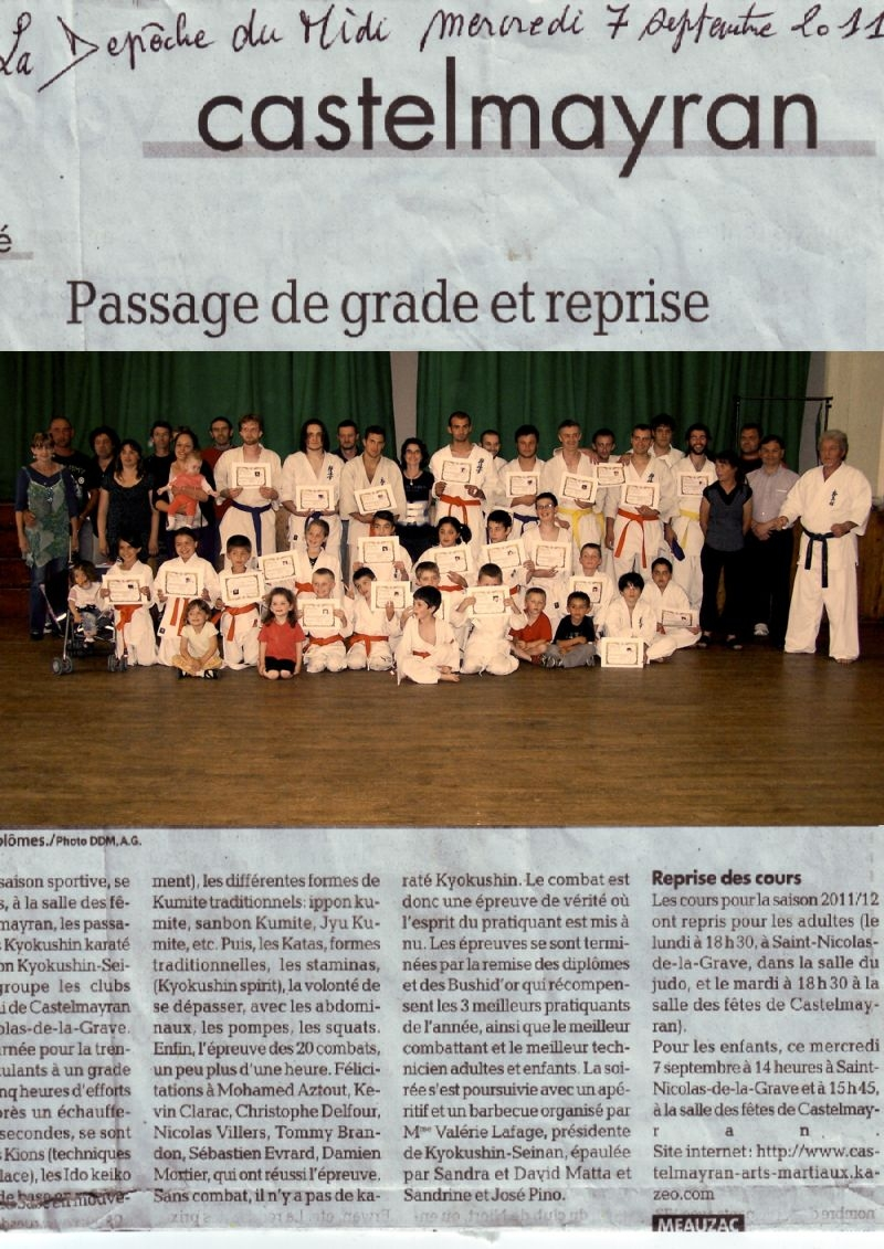 passage grade et reprise article depeche du 07 09 2011