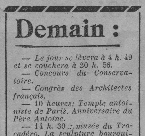 Anniversaire du Père Antoine (Paris-soir, 25 juin 1926)