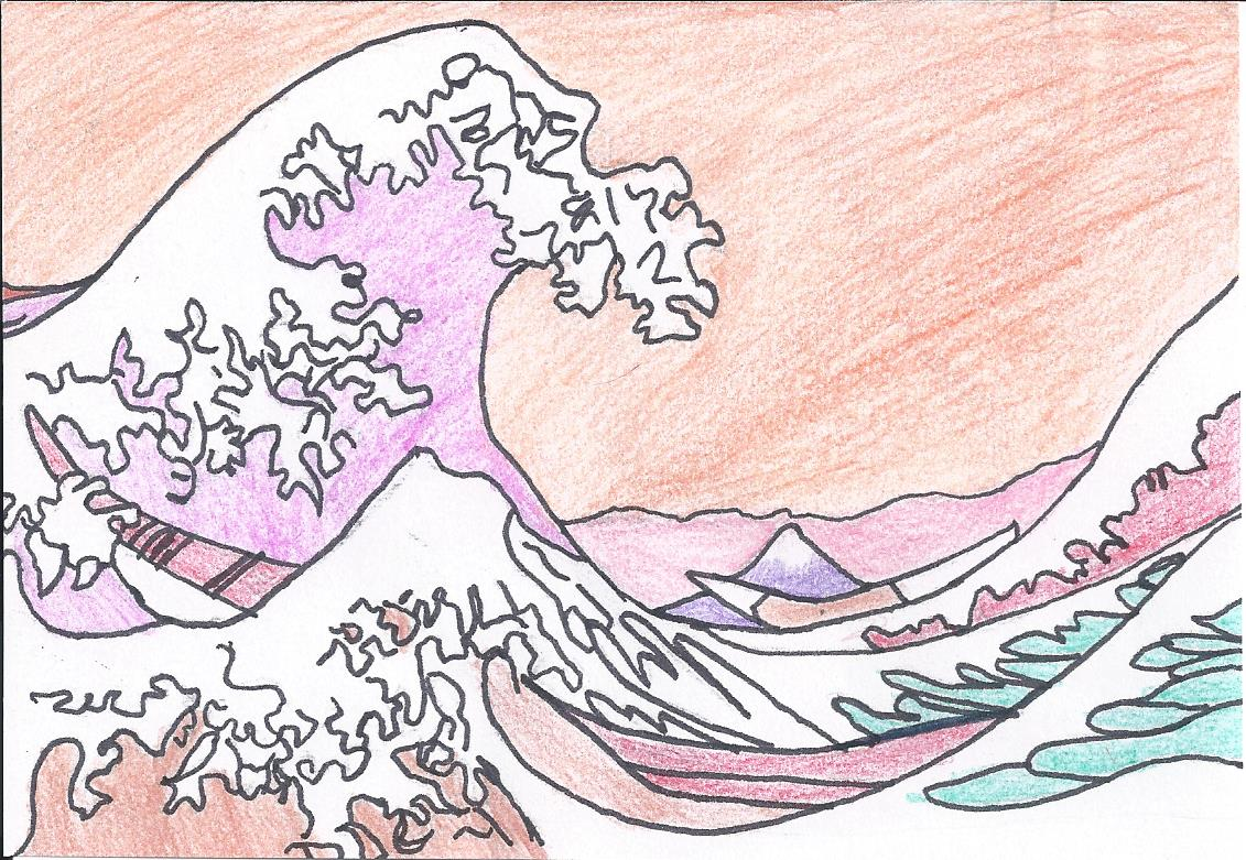 La grande vague de kanagawa de hokusai ecole pouchet rouen 76 - Vague coloriage ...