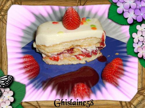 Terrine fondante à la fraise et chocolat blanc