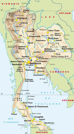carte du royaume de Thaïlande