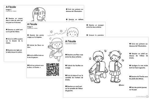 Comprendre des consignes, thème de l'école, compréhension, qr code, cycle 2, CP, CE1, CE2, lecture
