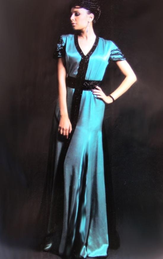 caftan turquoise en ligne  KAF S1037