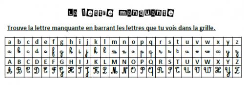 La lettre manquante, alpahbet, GS, Cp, Ce1