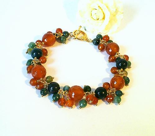 Réservé - Bracelet Grappe Orange-Vert, Pierre de Cornaline et Agate mousse / Laiton et plaqué Or