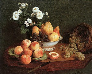 flowers & fruit on a table-large