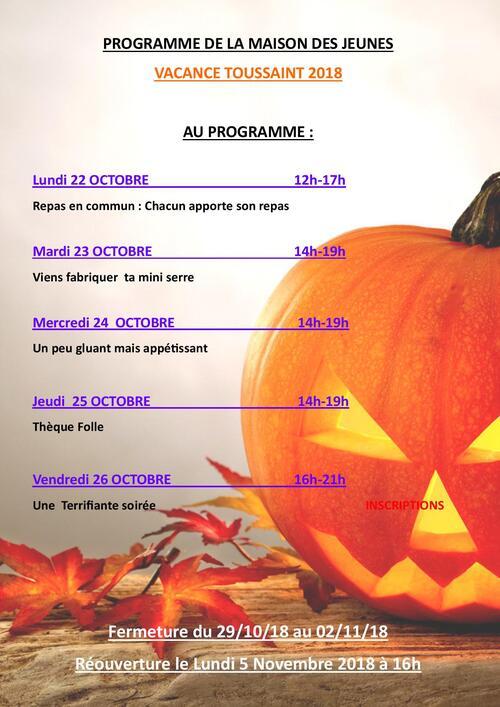 Programme d'activité vacance Toussaint 2018
