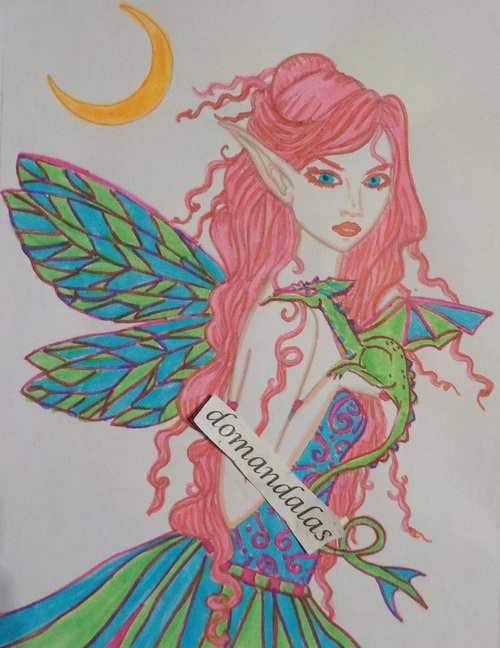 DOMANDALAS  coloriage fée dragon 6 Molly Harrison