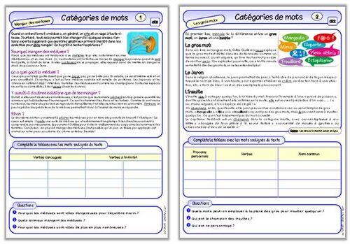 Les catégories de mots, CE2 (fichier autonome)