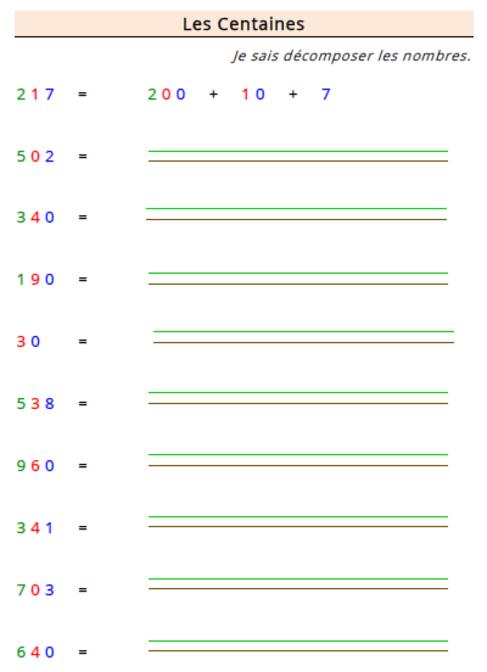 Etude des nombres - Les centaines